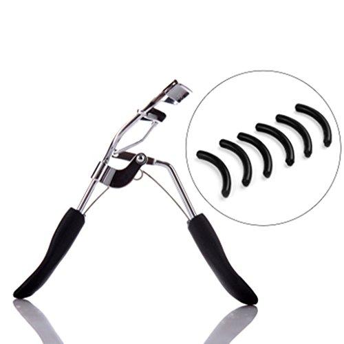 Recourbe-cils, curling durable mini portable outil de maquillage de curling envoyer 12 tampons de remplacement en acier inoxydable ( Couleur : Silver )