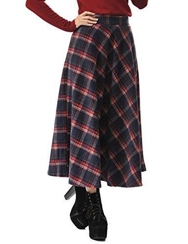 TEERFU Damen Vintage Winter Woll Herbst tartan mit hoher Taille flared röcke Lange Kleider -