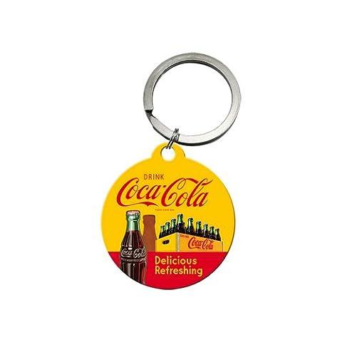 Nostalgic-Art 48012de Coca Cola in bottles Yellow, Porte-clés rond, 4cm