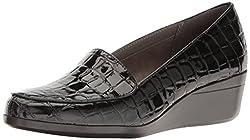 Aerosoles Womens True Match Slip-On Loafer, Black Crocodile, 8 W US