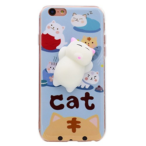Custodia iphone 5s / se / 5, 3d squishy cute animale phone caso morbido silicone tpu case dito pinch stress relieve back cover per iphone 5s / se / 5 -- bianca gatto