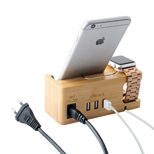 Apple Watch Ständer, IPUTY Apple Watch Halter Halterung Stehen Lader Veranstalter mit Stromadapter, Desktop Bambus Holz Dock für iWatch & Smartphones, Europäischer Stecker (Bamboo mit Netzkabel)