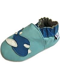 Lappa.de - Zapatillas de piel para niños (suela de ante, tallas de la 19 a la 31), diseño de avión
