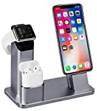 3 in 1 Ladestation Kompatibel mit Apple Watch Series 4/3/2/1, Aluminum Ständer für Apple Watch iPhone Airpods, Docking Station für iPhone XS/X/8/7/6S/Plus/ipad,Grau