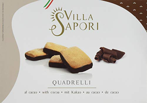 Villa Sapori Traditional Italian Biscuit with butter and cocoa-covered base | Quadrelli 900 g case (6 pack x 150g) (Base Karton Kuchen)