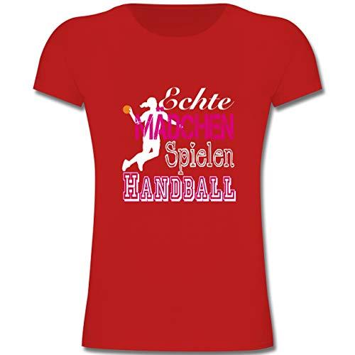 Sport Kind - Echte Mädchen Spielen Handball weiß - 152 (12-13 Jahre) - Rot - F131K - Mädchen Kinder T-Shirt