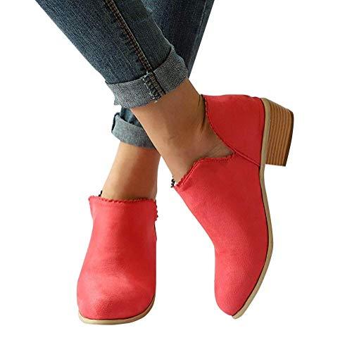 Minetom Femmes Élégant Bottines à Talon Automne Chic Bloc Dentelle Martin Chelsea Courtes Bottes Suède Antidérapant Chaussures Ankle Boots