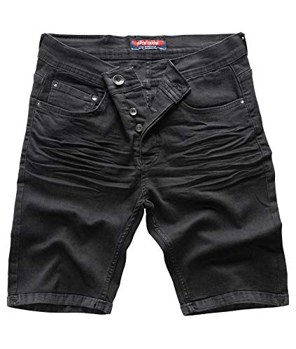 Rock Creek Herren Shorts Jeansshorts Denim Short Kurze Hose Herrenshorts Jeans Sommer Hose Stretch Bermuda Hose Schwarz RC-2202 Nightblack W29 -
