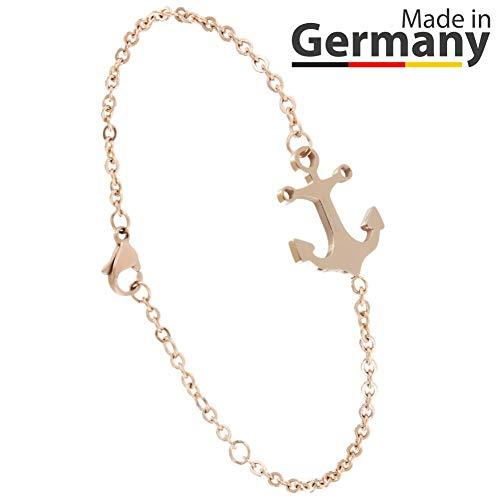 ANKERPUNKT Anker Armband Rosegold Frauen Armband Größenverstellbar Made in Pforzheim (Goldstadt)