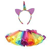 DIXIUZA Girl Kids Rainbow Costume Set, Rainbow Pettiskirt Ballet Bowknot Rock Tutu Set with Unicorn Headband for Dance Party Carnival
