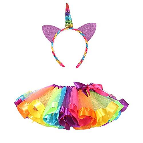 nbogen Kostüm Set, MFEU Regenbogen Pettiskirt Ballett Bowknot Rock Tutu Set, Einhorn Haarreif Haarband Kostüm für Tanz Party Karneval,L<7-9 Jahre Alt> (Regenbogen-tutu Halloween Kostüm)