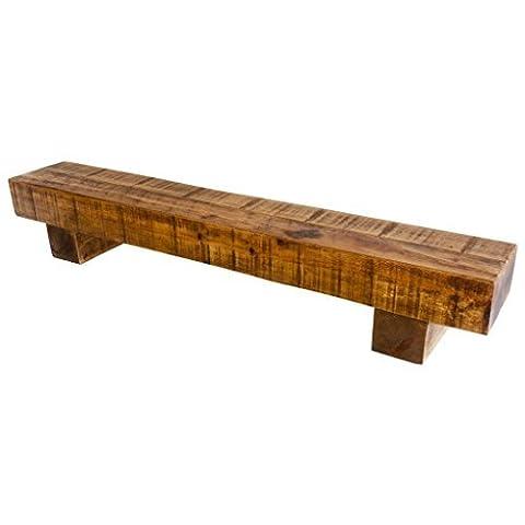 Funky Chunky Furniture 8x4 Rustic Solid Chunky Wood Block Support Shelf , Medium Oak , 100cm by Funky Chunky Furniture