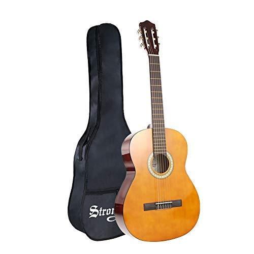 4/4 Volle Größe Klassische Akustikgitarre, Strong Wind 39 Zoll 6 Nylon Saiten Gitarre für Kinder und Erwachsene als Anfänger