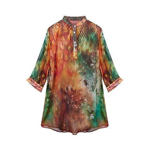 CISULI 100% Seide Damen Shirt Sommer-Shirt Seidenchiffon Bluse Frauen Tops (04, L) - Damen 100% Seide Bluse