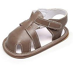 ZORE Zapatos De Bebe Bebés Bebés Niños Niñas Cuero Suela Romana Zapatos Verano Sandalias Primeros Caminantes (3Meses, Gris)