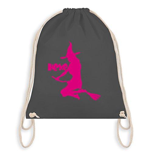 Halloween - Hexe auf dem Besen - Turnbeutel I Gym Bag Dunkelgrau