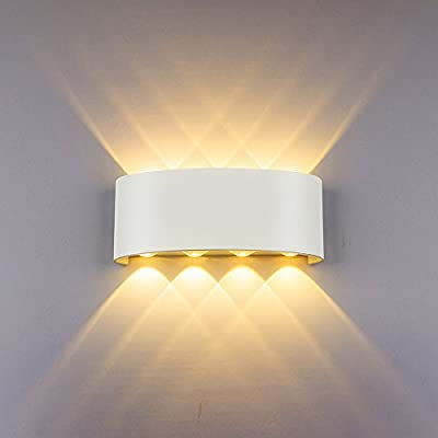 Modern Wall Light 8W White LED Sconce Up Down Wall Lamp Aluminium LED Waterproof Spot Light Night Lamp for Living Room, Bedroom, Hallway, Bathroom Decorative Wall Wash Lights by HYDONG