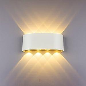 LED Modern Wandleuchte Innen 8W Weiss Wandlampe Licht Up Down Leuchten Aluminium Wandlicht Wasserdichte Aussenleuchte Wand Wandbeleuchtung für Wohnzimmer Schlafzimmer Treppenhaus Flur, Warmweiß