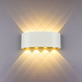 Appliques Murales Interieur LED Lampe 8w étanche Moderne Applique Murale en Aluminium Blanc pour Chambre Maison Couloir Salon (Blanc Chaud)