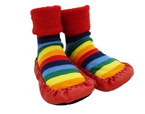Chaussures Chaussettes d'hiver épaisses à semelle antidérapante pour bébés, motif arc-en-ciel, 1 à 3 ans - Rouge - âge 2-3