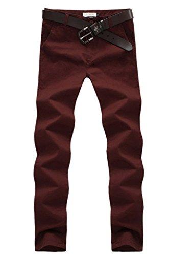 Minetom Pantalon Cargo Slim Casual - Homme,Automne et en Hiver Pantalons Vin rouge