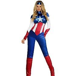 Mujer Aimerfeel USA sueño de capitán América mono superhéroe vestido tamaño (40-42)