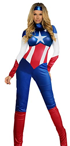 Der Aimerfeel Frau USA Traum Captain America Superhelden jumpsuit Fancy Dress Größe (36-38)