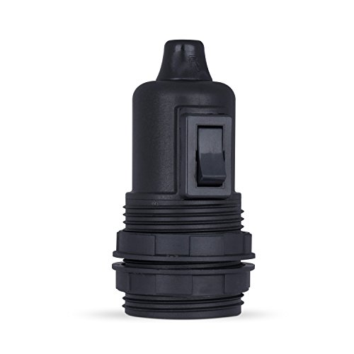 1 x | Fassung mit Schalter E27, Lampenfassung aus Thermoplast schwarz, Gewindemantel
