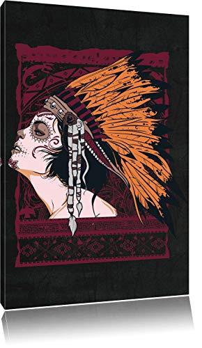 Dark Indian girl black Bild auf Leinwand, XXL riesige Bilder fertig gerahmt mit Keilrahmen, Kunstdruck auf Wandbild mit Rahmen, günstiger als Gemälde oder Ölbild, kein Poster oder Plakat, Format:120x80 cm Black Indian Girl