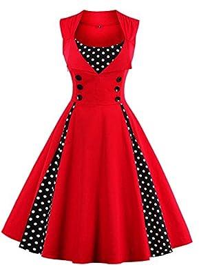VERNASSA 50s Retro Dresses, Women's 1950s Vintage A-Line Cotton Swing Dress for Rockabilly Evening Party Cocktail, Multicolor, S-Plus Size 4XL