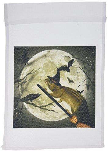 3dRose FL 150172_ 1süsse Vintage Eichhörnchen auf Einem Besen mit Einer Harvest Moon und Witch 's Hat ist sie bereit für Halloween Garten Flagge, 12von 18