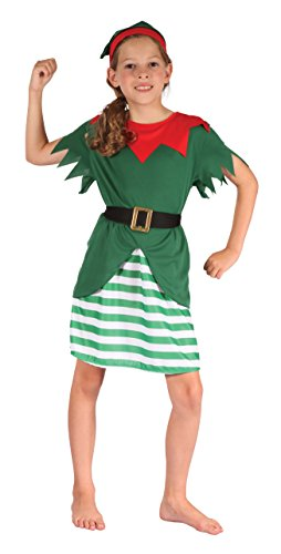 Bristol Novelty CC564Santa Helper Girl Kostüm (klein), Alter: ca. 3-5Jahren, Santa Helper Mädchen Kostüm - Santa Girl Kostüm