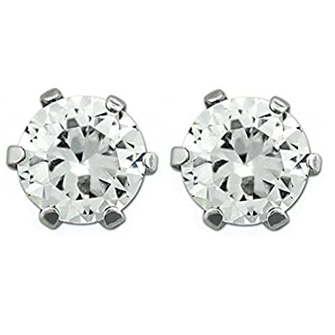 Round Stainless Steel Magnetic Stud Earrings - 6mm Clear CZ Stone