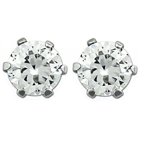 Round Silver Stainless Steel Magnetic Stud Earrings - 6mm Clear CZ Stone