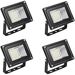 4×20W Étanche IP65 Lumière Blanc Chaud Himanjie LED Spot Projecteur ,Extérieur et Intérieur pour Jardin, Terrasse, Square,Cour,Usine [Classe énergétique A+]