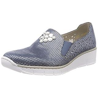 Rieker Women's's 537Y5 Loafers Blue (bleu-Silver 12) 5 UK