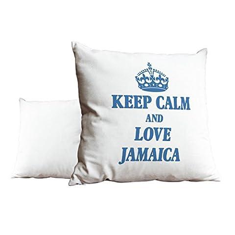 Bleu ciel Keep Calm and Love Jamaica Blanc Scatter Taie d'oreiller 1971