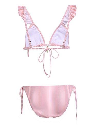 Meaneor_Fashion_Origin Damen Sexy Streifen Bikini set Bademode Split Badeanzüge Pinstripe Swimsuit mit Verstellbarer Trager Strand Swimwear für Frauen Rosa