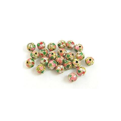 Lot de 20 perles cloisonnées chinoises rondes 8 mm rose