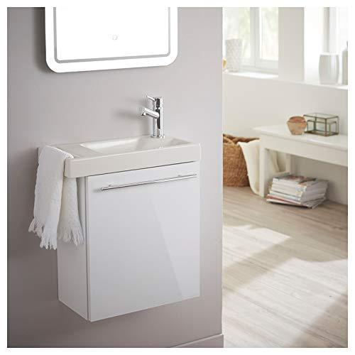 PlaneteBain Meuble Lave-Mains pour WC Blanc avec Porte...