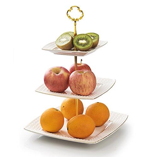 Toplife 3 étages Présentoir à gâteaux carré, EN CÉRAMIQUE avec support pour support de fruits Bonbons pour mariage et fête plat de service