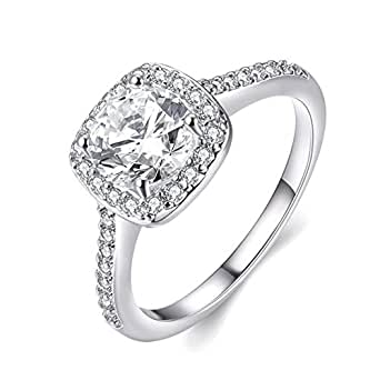 Eleery Women's Stylish Shinning Sterling Silver Zircon Big Square Finger Rings Cut Diamond Anniversary Engagement Wedding Rings Fashion Chain Jewellery Sparkly Rings (UK L 1/2, Silver)