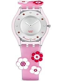 Swatch Damen Armbanduhren RUBYFLOW Analog Quarz Kautschuk SFP111