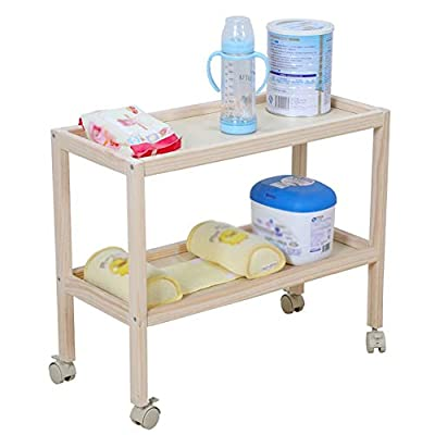 Wood Baby Changing Table Unit Station,Portable Baby Diaper Table with Universal Wheel - Health Baby Care