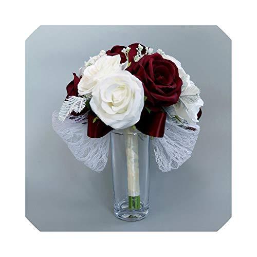laohu123 Handgemachte realistische Hochzeit Braut Bouquet Hand gebunden Blume Wesele Party Supplies Hochzeit Bouquet Mariage floral Hoops Hochzeit 2019, Weinrot -