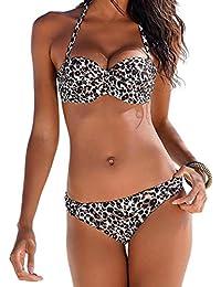 Ocean Plus Mujer Bandeau Bikini Acolchado Conjunto Sin Tirantes Raya Traje de Baño Push Up Ropa de Playa