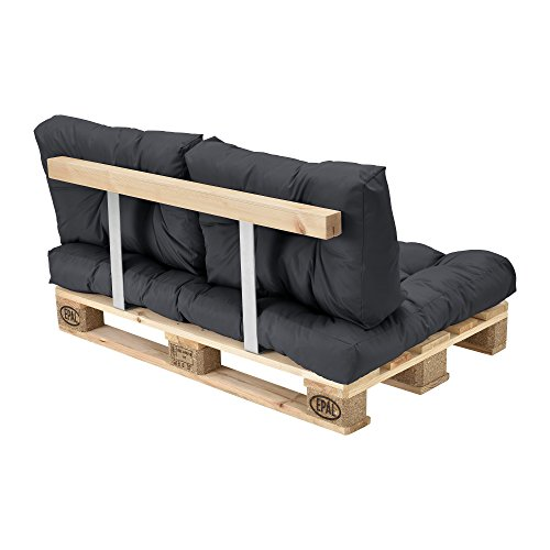 [en.casa] Euro Paletten-Sofa – DIY Möbel – Indoor Sofa mit Paletten-Kissen / Ideal für Wohnzimmer – Wintergarten (1 x Sitzauflage und 2 x Rückenkissen) Dunkelgrau - 6