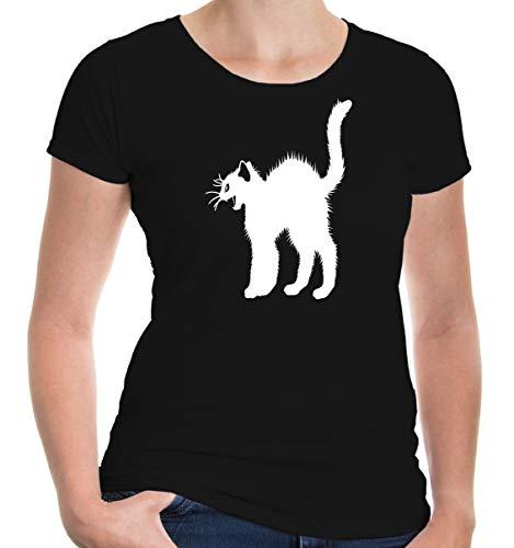lie Kurzarm T-Shirt Katzenbuckel Katze | Katzensprache Krallen Katzenbuch | M black-white Schwarz ()