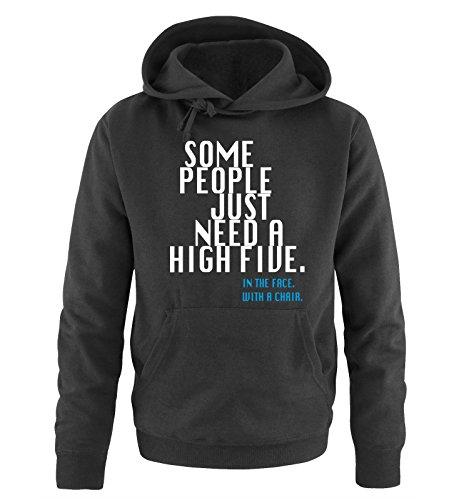 Some People JUST Need A HIGH Five - Herren Hoodie - Schwarz/Weiss-Blau Gr. M -