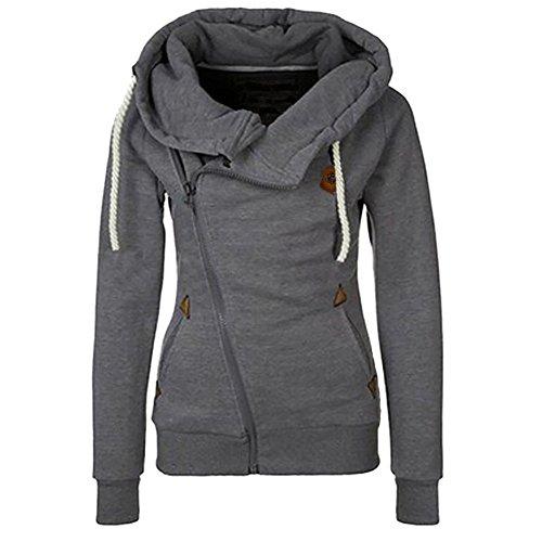 Missouls Womens Zipper Winter Warm Hoodie Sweatshirt Dark Grey L